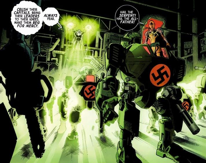 the avengers fight nazi mechs arousing grammar