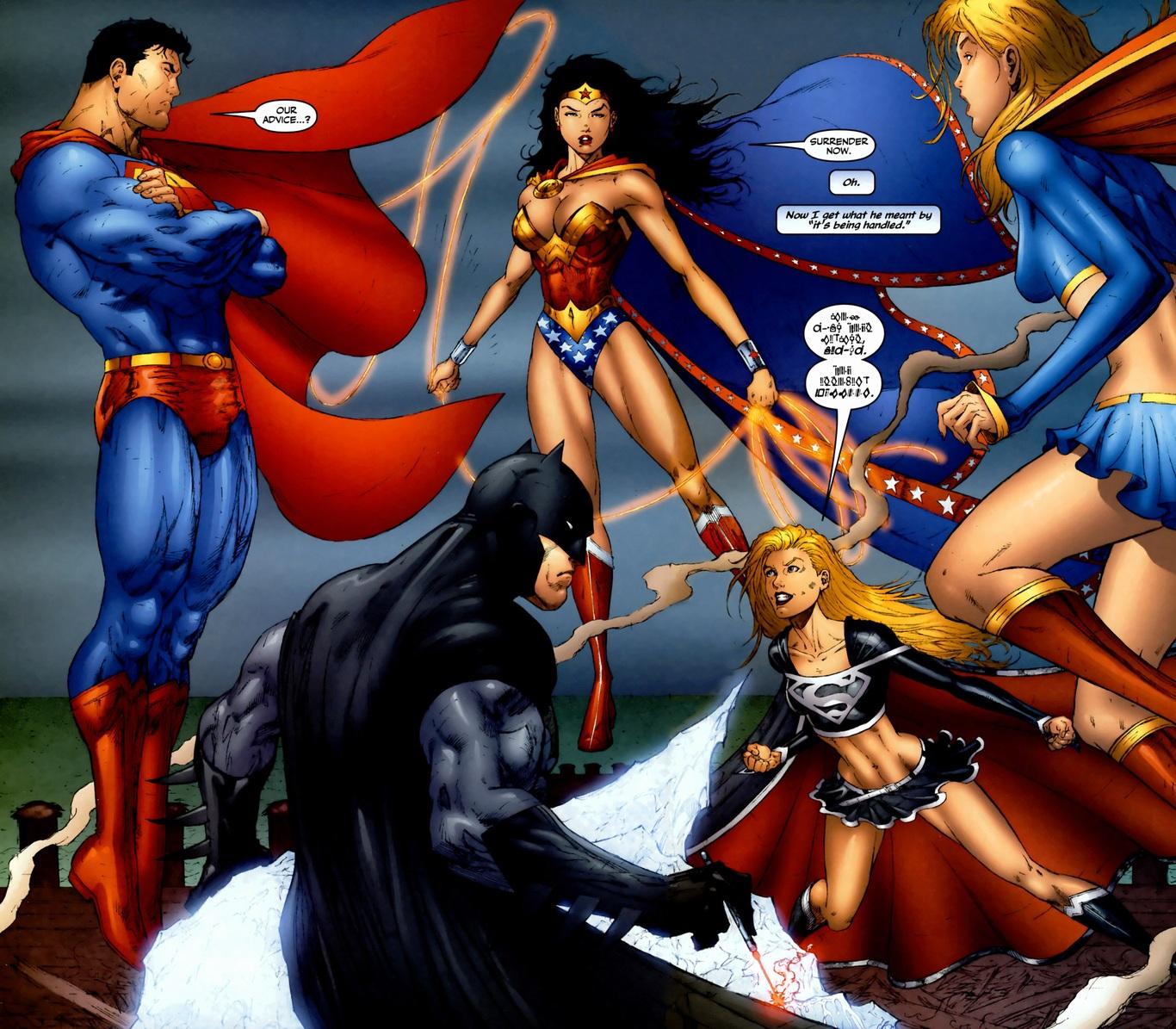 Supergirl Fights Luthor, JLA, Supergirl Arousing Grammar - 1366x1195 ...