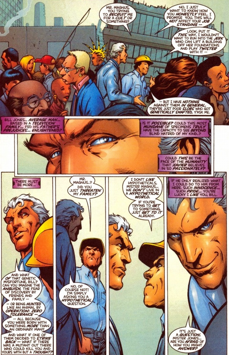 magneto hero or villain He's not a hero or a villain he's complex but at his heart he wants freedom for his people the story begins with a group of anti mutant demonstrators who are murdered, seemingly by magneto.